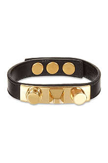 SAINT LAURENT Gold Leather Stud Bracelet
