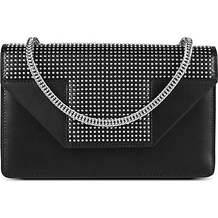 SAINT LAURENT Betty mini studded leather clutch (Noir