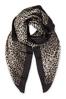 SAINT LAURENT Animal-print silk scarf