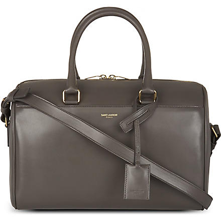 SAINT LAURENT Small leather duffel bag (Grey
