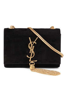 SAINT LAURENT Cassandre small suede shoulder bag