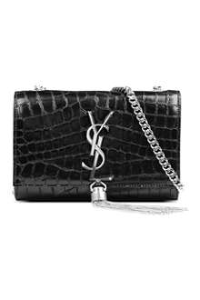 SAINT LAURENT Monogramme small mock-croc leather shoulder bag