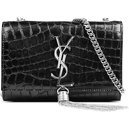 SAINT LAURENT Monogramme small mock-croc leather shoulder bag (Black