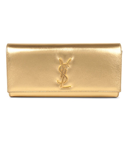 SAINT LAURENT Cassandre leather clutch (Gold