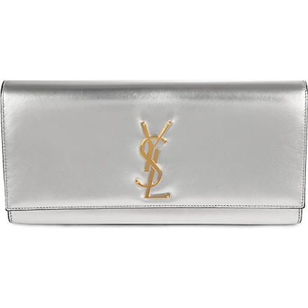 SAINT LAURENT Cassandre leather clutch (Silver