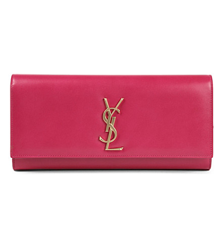 SAINT LAURENT Cassandre leather clutch (Fushia