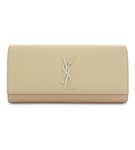 SAINT LAURENT Monogram Kate grained leather clutch (Poudre