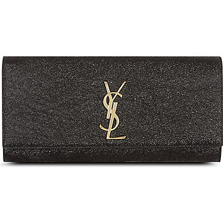 SAINT LAURENT Leather monogramme clutch (Black