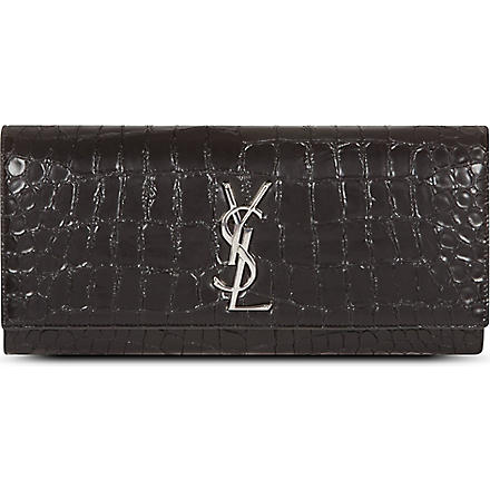 SAINT LAURENT Monogramme mock-croc leather clutch (Black