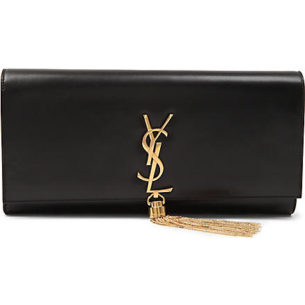 SAINT LAURENT Classic Cassandre tassel leather clutch (Black