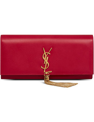 SAINT LAURENT Cassandre Tassel leather clutch