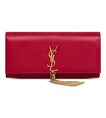 SAINT LAURENT Cassandre Tassel leather clutch (Fushia