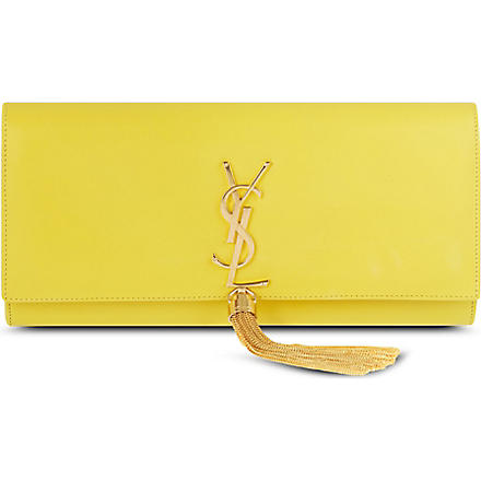 SAINT LAURENT Classic Monogramme tassel leather clutch (Soleil