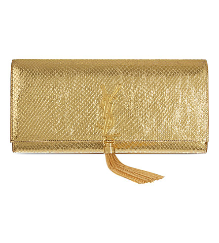 SAINT LAURENT Monogram python-effect leather clutch (Gold