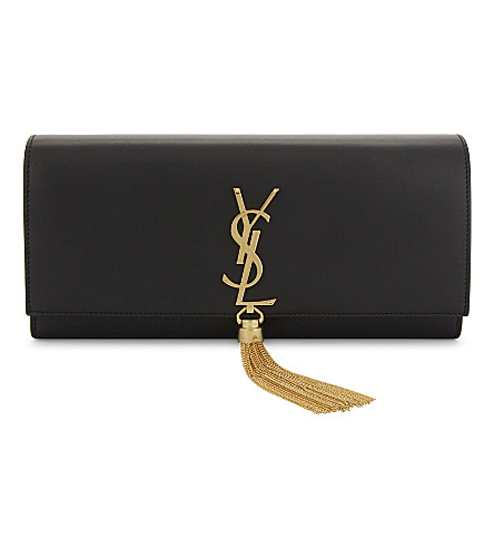 SAINT LAURENT Monogram Kate tassel leather clutch (Black