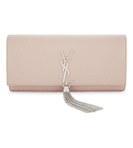 SAINT LAURENT Kate leather clutch (Pale+blush