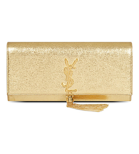 SAINT LAURENT Mongramme metallic leather clutch (Gold