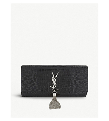 SAINT LAURENT Kate crocodile-embossed leather clutch (Black+silver