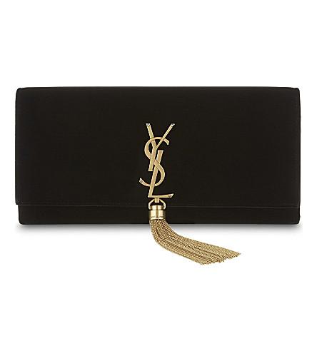 SAINT LAURENT Monogram Kate tassel velvet clutch (Black