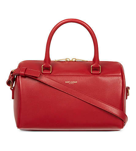 SAINT LAURENT Small leather duffle bag (Rouge