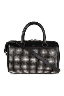 SAINT LAURENT Studded leather mini duffle bag