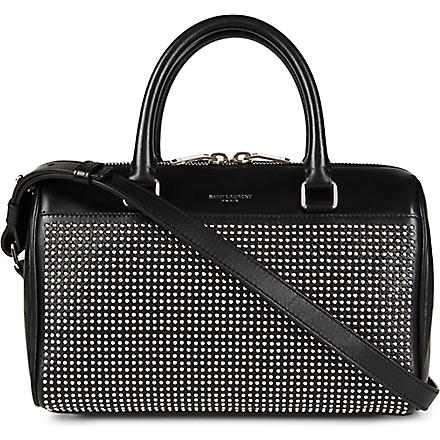 SAINT LAURENT Studded leather mini duffle bag (Noir