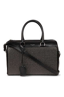 SAINT LAURENT Studded leather duffle bag