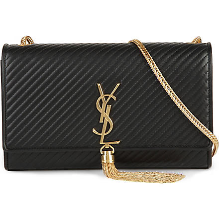SAINT LAURENT Cassandre quilted leather tassel bag (Black