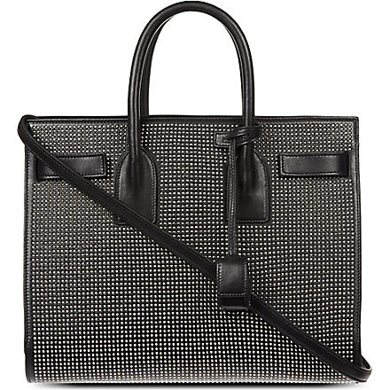 SAINT LAURENT Studded leather tote (Black