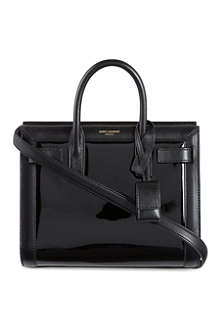 SAINT LAURENT Sac du Jour mini bi-patent tote