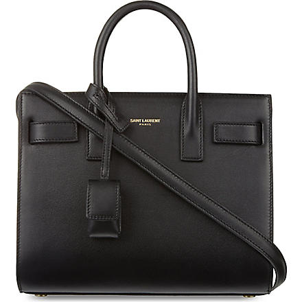 SAINT LAURENT Mini Sac du Jour calfskin tote (Black