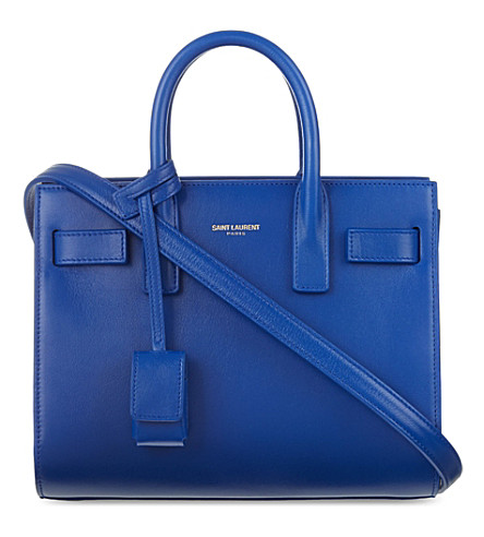 SAINT LAURENT Sac de Jour mini leather tote (Blue mjorelle