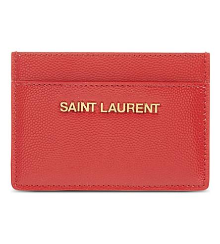 SAINT LAURENT Leather card case (Rouge