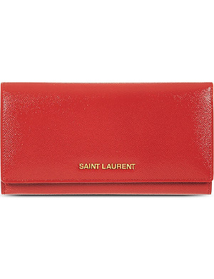 SAINT LAURENT Grained leather flap wallet