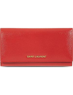 SAINT LAURENT Grained leather flap wallet