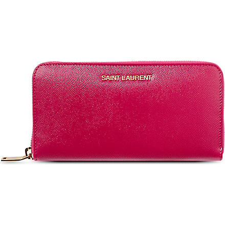 SAINT LAURENT Logo zip around wallet (Pink