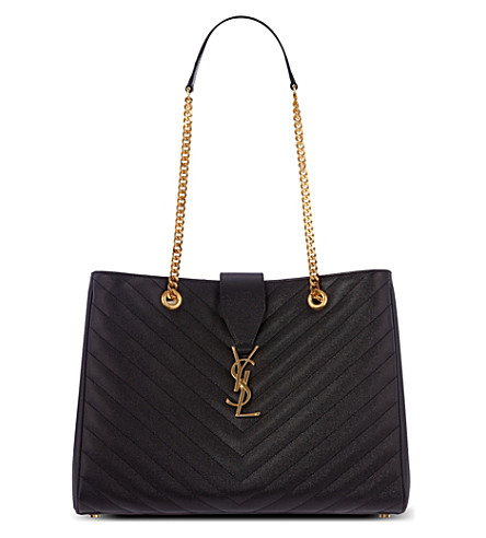 SAINT LAURENT Quilted leather tote (Black