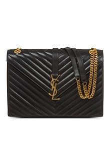 SAINT LAURENT Monogramme leather chevron satchel