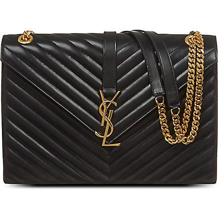 SAINT LAURENT Monogramme leather chevron satchel (Black