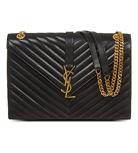 SAINT LAURENT Quilted leather envelope satchel (Black
