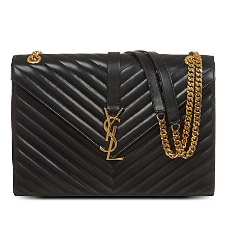 SAINT LAURENT Monogramme leather chevron satchel (Black