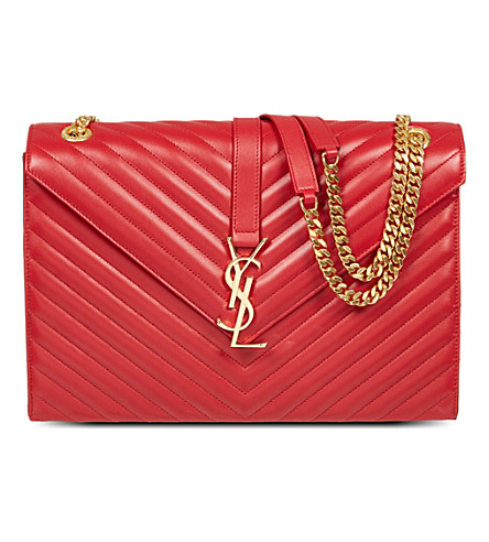 SAINT LAURENT Monogramme large leather satchel (Rouge