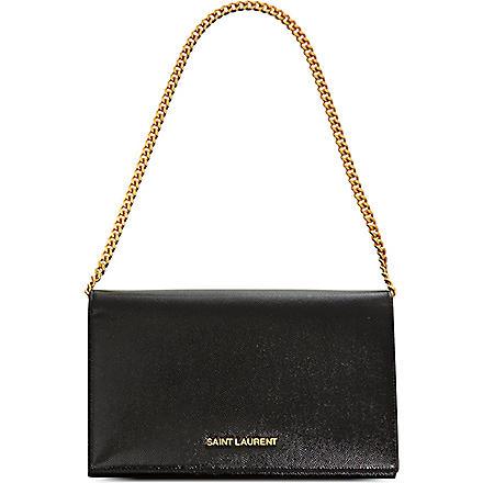 SAINT LAURENT Grained leather wallet (Black
