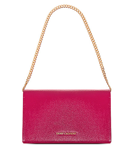 SAINT LAURENT Grained leather wallet (Pink