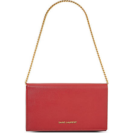 SAINT LAURENT Grained leather chain wallet (Rouge