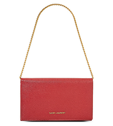 SAINT LAURENT Grained leather chain wallet (Rouge