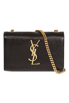 SAINT LAURENT Mono small grainy leather shoulder bag