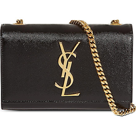 SAINT LAURENT Mono small grainy leather shoulder bag (Black