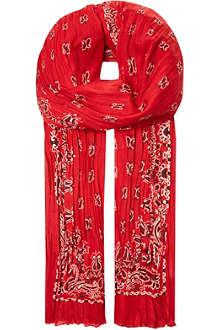 SAINT LAURENT Paisley print silk cashmere scarf