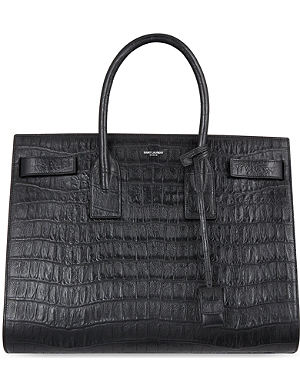 SAINT LAURENT Sac de Jour medium crocodile-effect leather tote